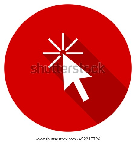 click here vector icon, red modern flat design web element