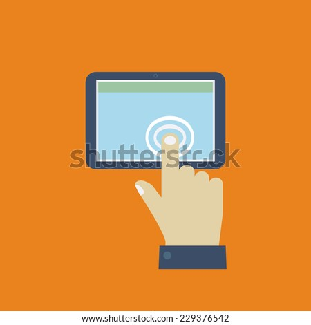 Click on the screen tablet. Flat design vector for web - stock vector