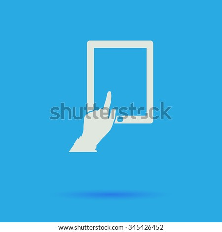 click tablet White flat vector simple icon on blue background with shadow  - stock vector