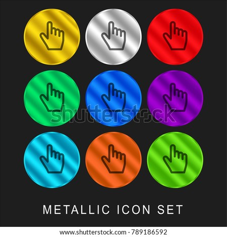 Clicker 9 color metallic chromium icon or logo set including gold and silver