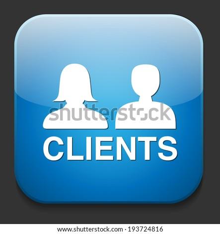 Clients  button - stock vector
