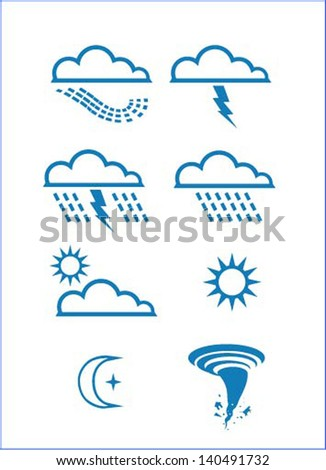 Climate, cloud, thunder, sunshine, rain and tornado - stock vector