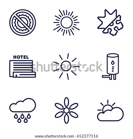 Climate icons set. set of 9 climate outline icons such as sun, no brightness, geyser, cold and hote mode, sun cloud