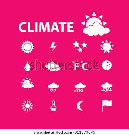 climate, weather icons, signs, icons set, vector - stock vector