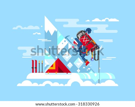 Climber conquers the summit. Mountain and adventure, climbing and challenge, brave and courage, extreme and risk, vector illustration - stock vector
