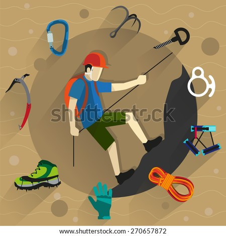 Climber in helmet rises on a rock. Around him climbing equipment and accessories. Flat style icons