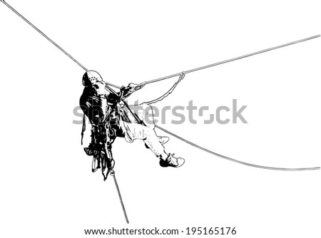 climber on the rope in the air, illustration - stock vector