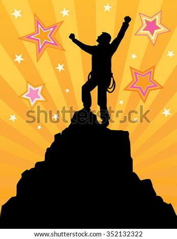 Climber reaching the summit - stock vector