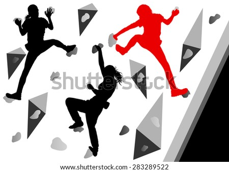 Climber woman winner vector background concept - stock vector