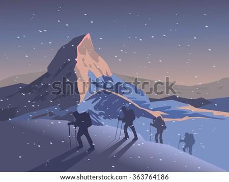 Climbers climb the mountain. Vector illustration - stock vector