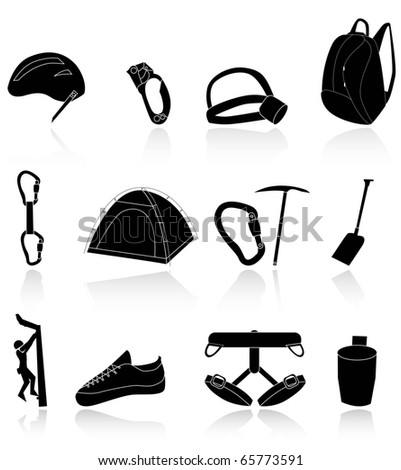 climbing,camping and exploration icons - stock vector
