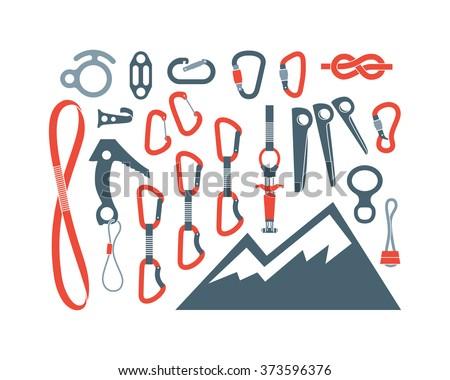 Climbing equipment vector set. - stock vector