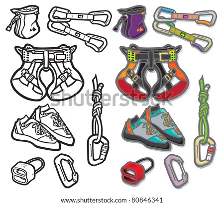 Climbing Icons one Vector icon illustration of a selection of sport climbing accessories and equipment. Layered file for easy editing. Why not check out my portfolio?
