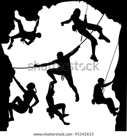 Climbing illustration set on the rock - stock vector