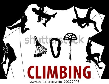 Climbing People silhouettes in vector art - stock vector