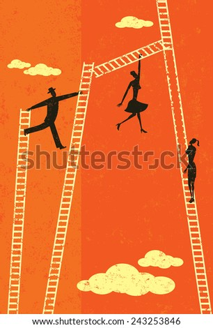 Climbing the Corporate Ladder Business people taking various paths climbing the corporate ladder to the top. The people and ladders are on a separate labeled layer from the background. - stock vector