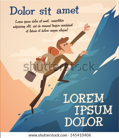 Climbing up the hill. Vector retro styled illustration. - stock vector