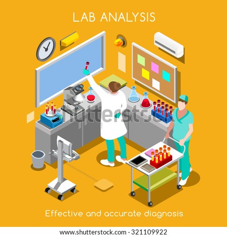 Clinic Laboratory Blood Test Infographic. Hospital Lab Blood Analysis Hematology Pathology Microbiology Equipment. Healthcare Clinic Laboratory Research 3D Flat Isometric People Lab Vector Image. - stock vector