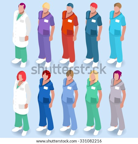 Clinic Medical Doctor Nurse Scrub Physician Character. Hospital Color Code Staff Uniform. Hospital Clinic Staff Medical Doctor Patient Nurse Surgeon infographic elements Health Care Vector Image.