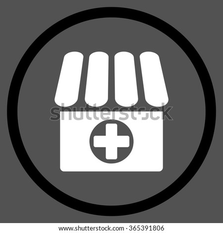 Clinic vector icon. Style is bicolor flat circled symbol, black and white colors, rounded angles, gray background. - stock vector