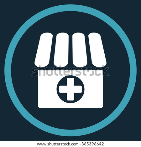 Clinic vector icon. Style is bicolor flat circled symbol, blue and white colors, rounded angles, dark blue background. - stock vector