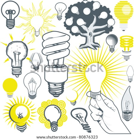 Clip art collection of various types of lightbulb - stock vector