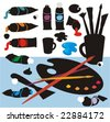 Clip art collection with paintbrushes, ink tubes, lids, spatula, palette, cup and blobs in color silhouettes. No gradient fills. Easy to customize. - stock vector