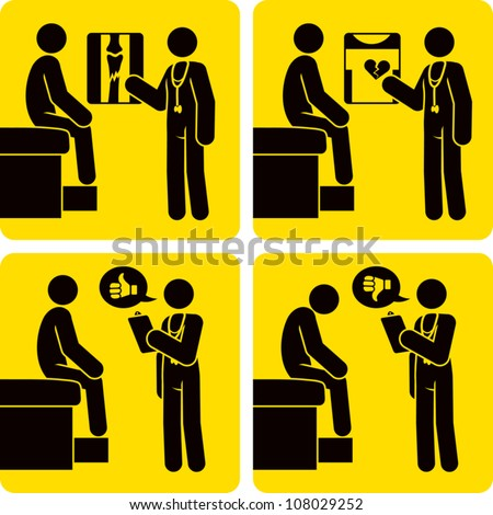 Clip art illustration styled like universal signs showing a stick figure man receiving a diagnosis from a doctor. Includes diagnosis of broken bone, heart trouble, and generic good news and bad news. - stock vector