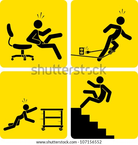 Clip art illustration styled like universal signs showing a stick figure man suffering various forms of trips, slips, and falls. - stock vector