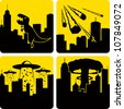 Clip art illustration styled like universal signs showing various disasters in a large city. Includes Godzilla attack, meteors, mass alien abduction, and nuclear strike. - stock photo