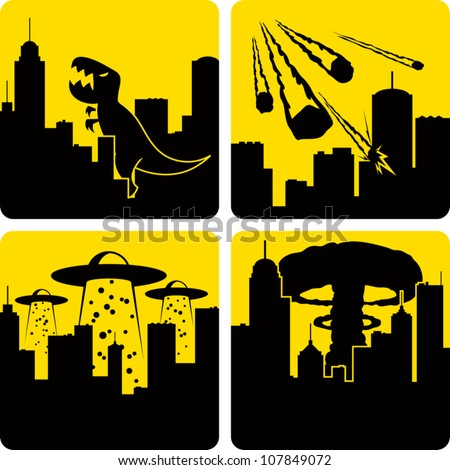 Clip art illustration styled like universal signs showing various disasters in a large city. Includes Godzilla attack, meteors, mass alien abduction, and nuclear strike. - stock vector