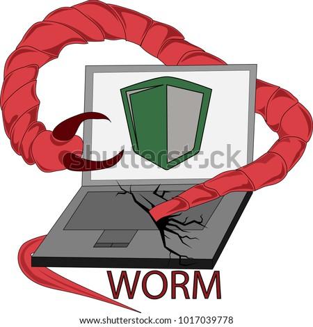 clip art computer virus worm stock vector 1017039778 shutterstock rh shutterstock com