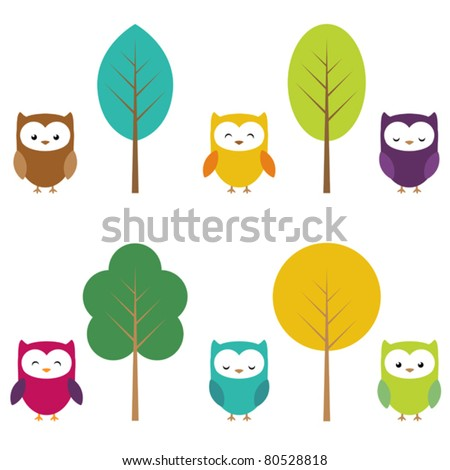 Clip art of owls and trees - stock vector