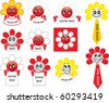 Clip-art of red flower smiles with space for some text - stock photo