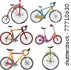 Clip-art.The complete set of bicycles - stock photo