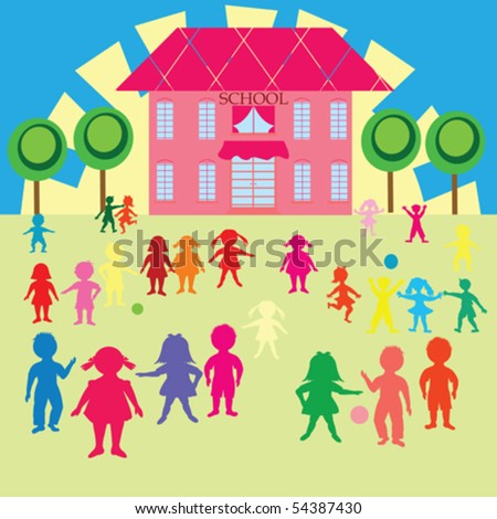 Clip-art with children and school - stock vector