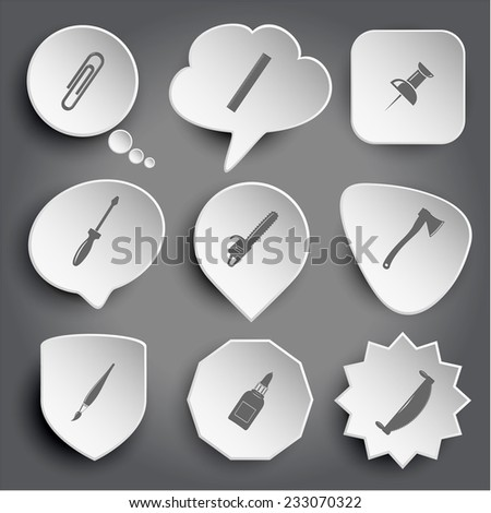 clip, ruler, push pin, screwdriver, gasoline-powered saw, axe, brush, glue bottle, two-handled saw. White vector buttons on gray. - stock vector