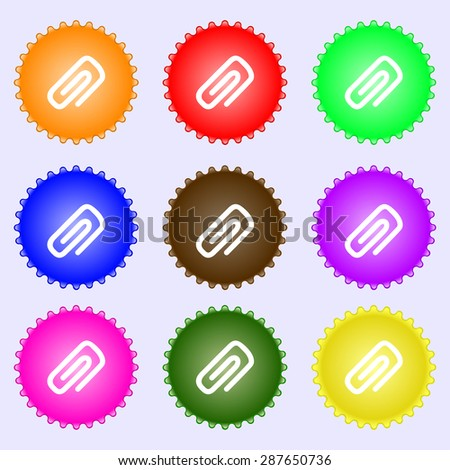 clip to paper icon sign. A set of nine different colored labels. Vector illustration - stock vector