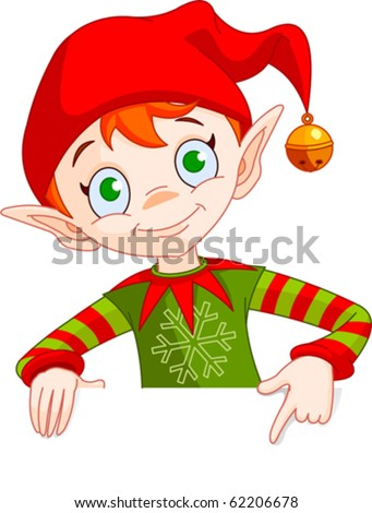 Clipart Illustration of a Christmas Elf Holding And Pointing Down To A Blank White Sign - stock vector