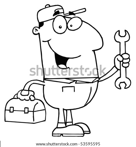 Clipart Illustration of an Outlined Auto Mechanic - stock vector