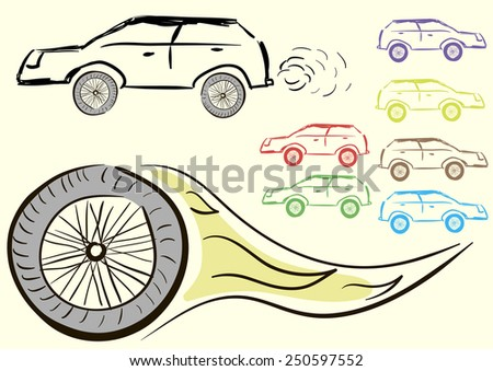 Clipart with negligent cars and the burning wheel - stock vector