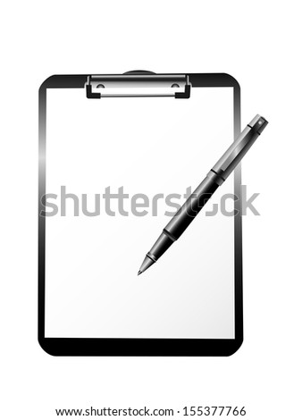 clipboard blank sheet of paper and pen vector illustration isolated on white background