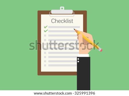 clipboard checklist productivity hand check flat vector - stock vector