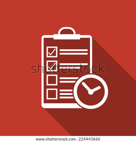 clipboard & clock icon with long shadow - stock vector