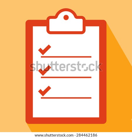 Clipboard Icon. Clipboard Icon vector isolated on orange background. Clipboard Icon with Long Shadow. All in a single layer. Vector illustration. Elements for design. Flat icon of clipboard. - stock vector