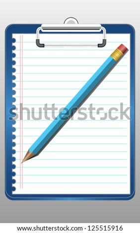 Clipboard paper and pencil - stock vector