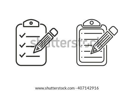 Clipboard pencil   vector icon. Black  illustration isolated on white  background for graphic and web design. - stock vector