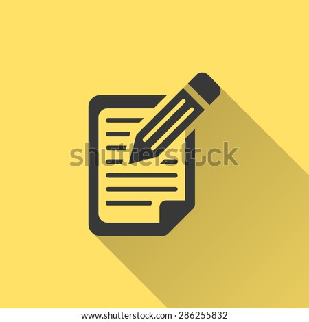 Clipboard pencil - vector icon in black on a yellow background. - stock vector
