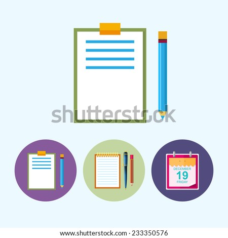 Clipboard with a pencil .  Set from 3 round colorful icons,clipboard with a pencil,  notebook with the pen and a pencil, icon calendar leaf , data icon, vector illustration