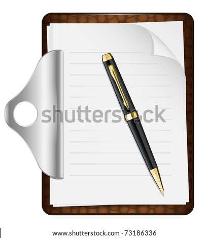 Clipboard with an empty sheet of paper and pen. Vector illustration - stock vector